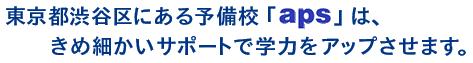 東京都渋谷区にある予備校「aps」は、きめ細かいサポートで学力をアップさせます。
